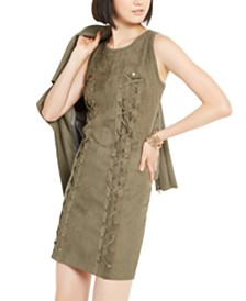 I.N.C. Lace-Up Faux-Suede Dress, Created for Macy's