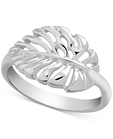 Open Leaf Ring in Fine Silver-Plate