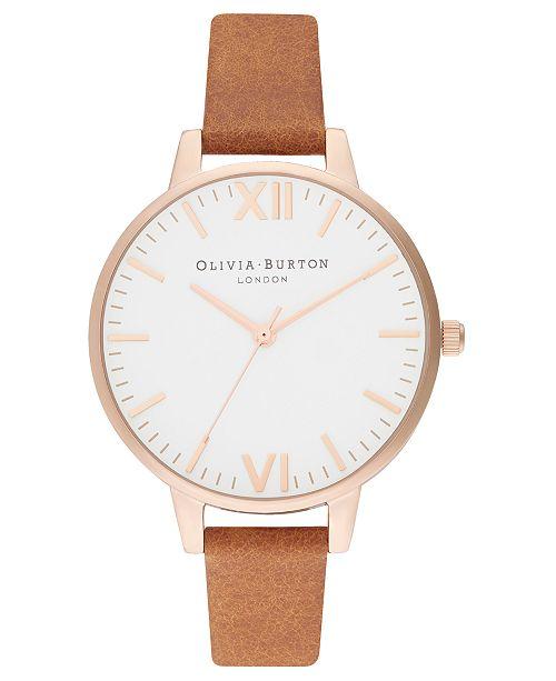 Olivia Burton Women's Honey Tan Leather Strap Watch 34mm