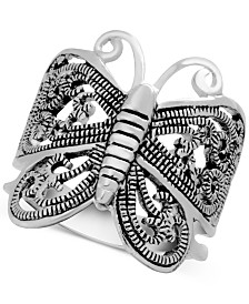 Essentials Filigree Butterfly Ring in Fine Silver-Plate