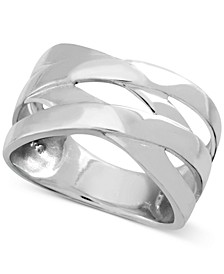 Polished Criss-Cross Ring in Fine Silver-Plate