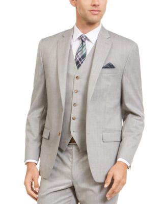 Men's Classic-Fit UltraFlex Stretch Gray Sharkskin Suit Separate Jacket