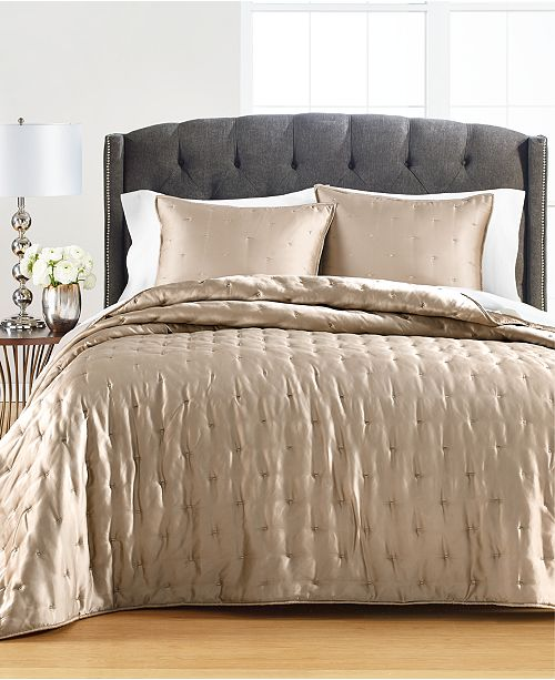 Martha Stewart Collection Silky Satin Quilt Collection, Created for Macy's