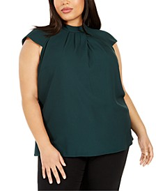 Plus Size Pleated Mock-Neck Top
