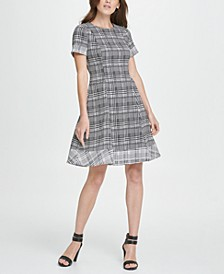 Twin Print Short Sleeve Fit  Flare Dress