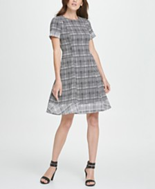 DKNY Twin Print Short Sleeve Fit  Flare Dress