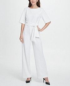 Short Sleeve Tie Waist Jumpsuit