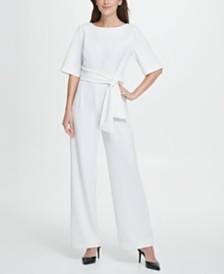 DKNY Short Sleeve Tie Waist Jumpsuit