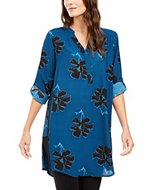 Printed Roll-Tab-Sleeve Tunic Top, Created for Macy's