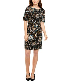 Petite Printed Short-Sleeve Sheath Dress, Created for Macy's