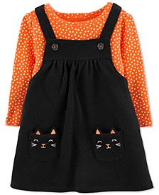 Baby Girls 2-Pc. Cotton Dot-Print Bodysuit & Cat Jumper Set