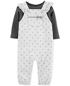 Baby Girls 2-Pc. Cotton T-Shirt & Dot-Print Overalls Set