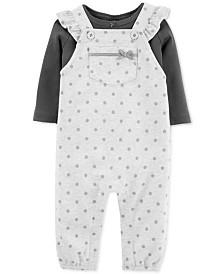 Carter's Baby Girls 2-Pc. Cotton T-Shirt & Dot-Print Overalls Set