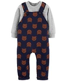 Baby Boys 2-Pc. Cotton T-Shirt & Bear-Print Overalls Set