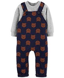 Carter's Baby Boys 2-Pc. Cotton T-Shirt & Bear-Print Overalls Set