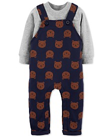 Carter's Baby Boys 2-Pc. Cotton T-Shirt & Bear-Print Overalls Set