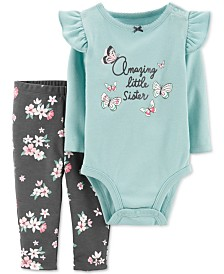 Carter's Baby Girls 2-Pc. Cotton Little Sister Bodysuit & Leggings Set