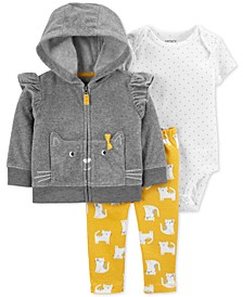 Baby Boys 3-Pc. Kitty Fleece Hoodie, Printed Bodysuit & Printed Leggings Set