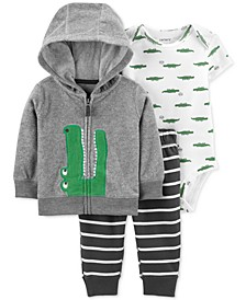 Baby Boys 3-Pc. Alligator Jacket, Bodysuit & Pants Set