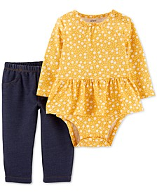 Baby Girls 2-Pc. Floral-Print Peplum Bodysuit & Jeggings Set