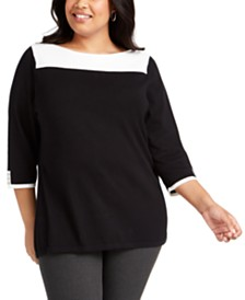 Karen Scott Plus Size Colorblocked Sweater, Created for Macy's