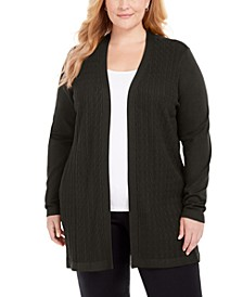 Plus Size Open-Front Cable-Knit Cardigan, Created for Macy's