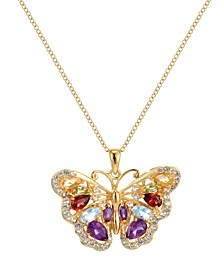 Multi-Gemstone (2 3/4 ct. t.w.) Butterfly Pendant in 18k Yellow Gold over Sterling Silver
