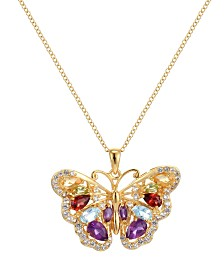Prime Art & Jewel 18K Gold Over Sterling Silver Multi Stone Butterfly Pendant