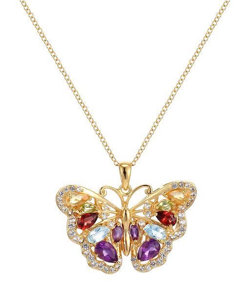 PRIME ART & JEWEL Multi-Gemstone (2 3/4 ct. t.w.) Butterfly Pendant in 18k Yellow Gold over Sterling Silver
