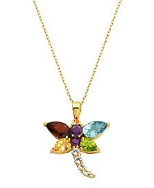 Prime Art & Jewel 18K Gold Over Sterling Silver Multi Stone Drangonfly Pendant