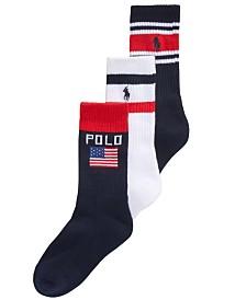 Polo Ralph Lauren Little & Big Boys 3-Pk. Striped Flag Socks