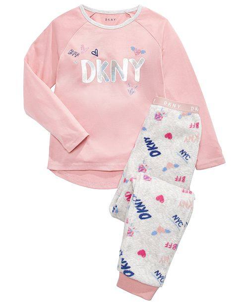 DKNY Big Girls 2-Pc. Printed Fleece Pajamas Set