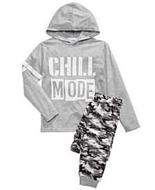 Big Boys Chill Mode Hoodie & Camo-Print Pants Pajama Set