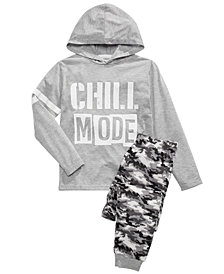 Max & Olivia Big Boys Chill Mode Hoodie & Camo-Print Pants Pajama Set
