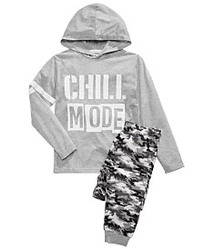 Max & Olivia Big Boys Chill Mode Hoodie & Camo-Print Pants Pajama Set
