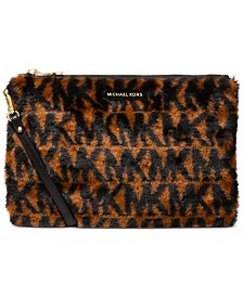 Michael Michael Kors Jet Set Large Faux Fur Zip Pouch