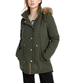 Juniors' Faux-Fur Trim Hooded Parka Coat