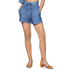 BCBGeneration Cotton Denim Tie-Waist Shorts