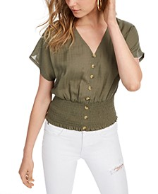 Juniors' Button-Up Smocked Top