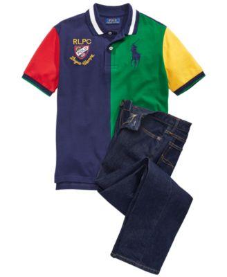 Little Boys Color-Blocked Cotton Mesh Polo Shirt