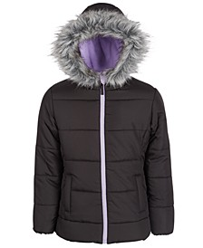 Big Girls Hooded Quilted Jacket With Faux-Fur Trim