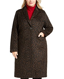 Tahari Plus Size Single-Button Leopard Coat, Created for Macy's