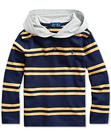 Little Boys Navy Stripes Hooded T-Shirt