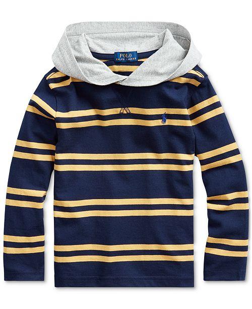 Polo Ralph Lauren Toddler Boys Navy Stripes Hooded T-Shirt