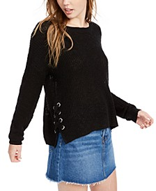 Juniors' Lace-Up Sweater