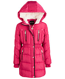 DKNY Toddler Girls Hooded Puffer Jacket With Faux-Fur Trim