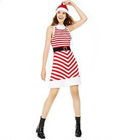 Juniors' Holiday Santa Sweater Dress & Hat
