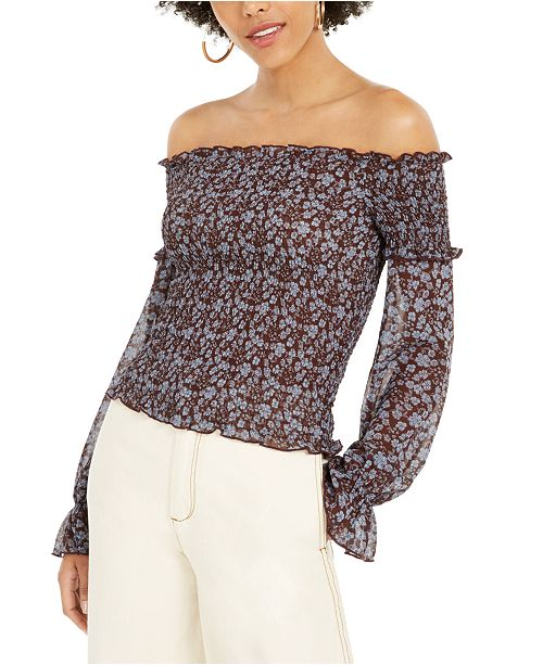 Lucy Paris Isabella Smocked Off-The-Shoulder Top