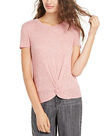 Hippie Rose Juniors' Ribbed Twist-Front Top