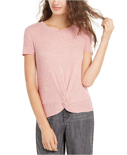 Pink Rose Juniors' Ribbed Twist-Front Top
